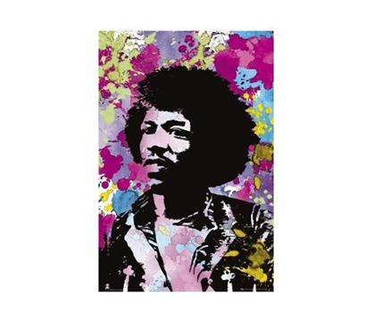 Great Dorm Wall Decor - Jimi Hendrix Color Splatter Poster - Cool Colors