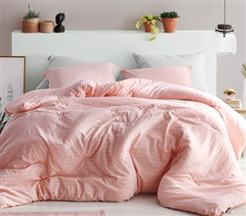 Geometric Extra Long Twin Bedding Highlands Coral Pink College Comforter Made with 100% Yarn Dyed Cotton