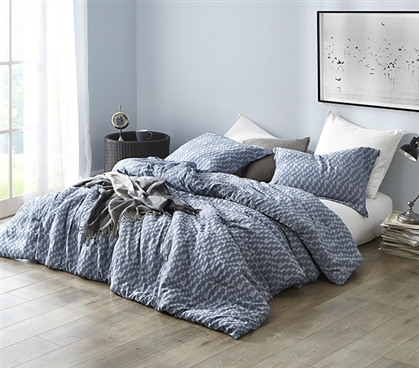 Navy Slate - Twin XL Comforter - 100% Yarn Dyed Cotton Bedding