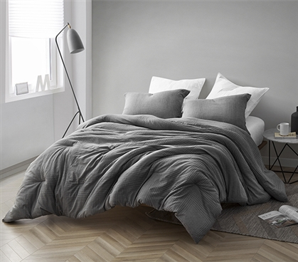 Gray Depths - Twin XL Comforter - 100% Yarn Dyed Cotton Bedding