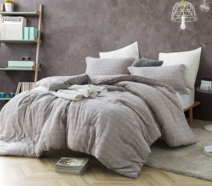 Neutral Dorm Bedding Decor Farmstead Super Soft Cotton Twin Extra Long Comforter with Matching Standard Dorm Pillow Sham