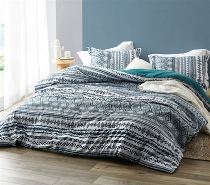Teal and White College Comforter Stylish Twin XL Zanzibar Teal Super Soft Microfiber Dorm Bedding