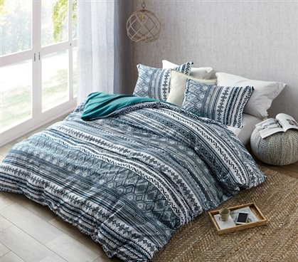 One of a Kind Duvet Cover for Dorm Bed Colorful Zanzibar Teal Extra Long Twin Bedding with Standard Sham
