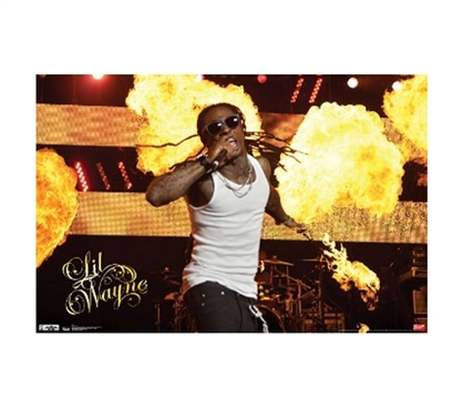 Brings Color To Dorm Walls - Lil Wayne Fire Poster - Decorate Dorm Walls