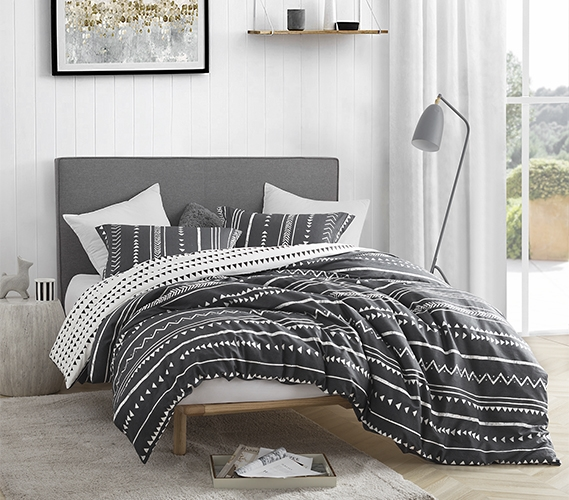 Extra Long Twin Duvet Cover Set Faded Black And White Trinity Soft