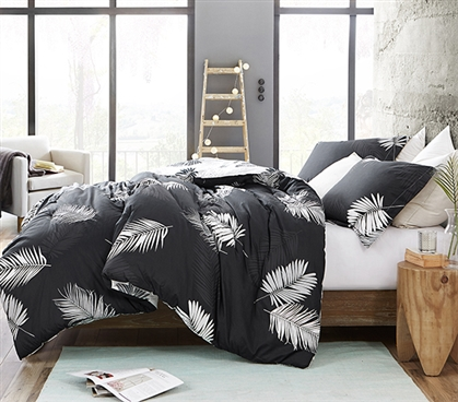 Palms - Black and White - Twin XL Comforter - 100% Cotton Bedding