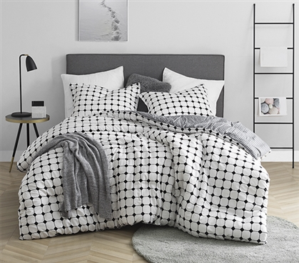 Most Comfortable College Comforter for Dorm Bed Moda Designer Black and White Twin Extra Long Bedding