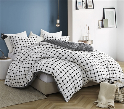Essential Extra Long Twin Duvet Cover for Oversized College Comforter 100% Cotton Moda Dorm Bedding with Black and White Pattern