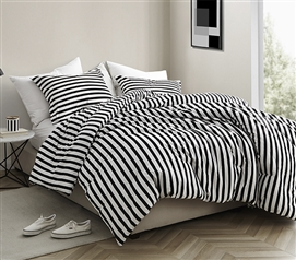 Onyx Black and White Striped - Twin XL Comforter - 100% Cotton Bedding