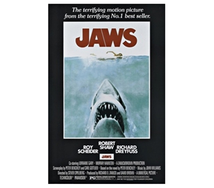 Terrifying Jaws Movie Poster & Famous Score Decor