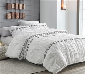 Stylish Textured Black and White College Bedding Set Santorini Extra Long Twin Comforter