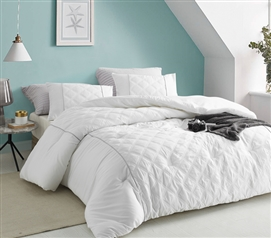 Oversized College Comforter Set Le Blanc Stylish Textured White Extra Long Twin Bedding