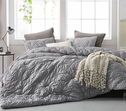 Machine Washable Twin Extra Long Comforter Set Alloy Gray Farmhouse Morning Dorm Bedding Made with Super Soft Microfiber