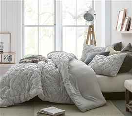 Farmhouse Morning Textured Bedding - Twin XL Comforter - Glacier Gray