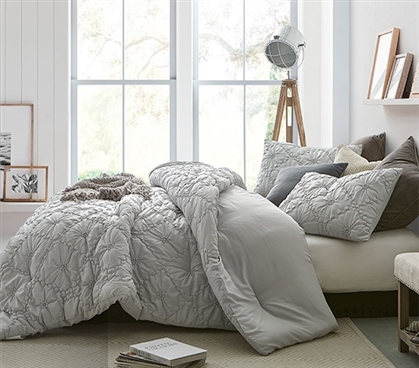 Beautiful Farmhouse Morning Oversized College Comforter Easy to Match Glacier Gray Dorm Bedding