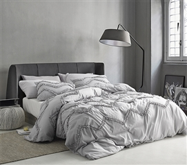 Textured Ruffles Bedding - Twin XL Comforter - Chevron Glacier Gray