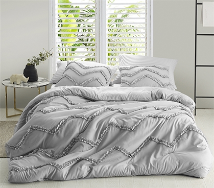 Gray Ruffles XL Twin Duvet Cover Textured Glacier Gray College Bedding with Chevron Pattern