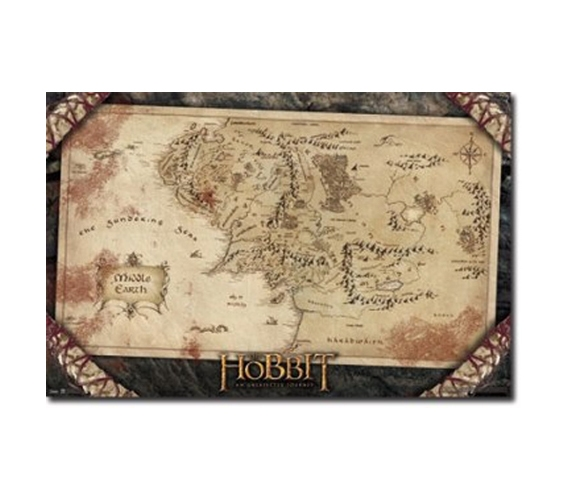 The Hobbit Map Poster College Decorations Dorm Decor Movie - Us college map poster