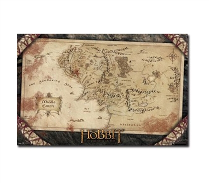 Perfect For LOTR Fans - The Hobbit Map - Poster - Dorm Room Decorations