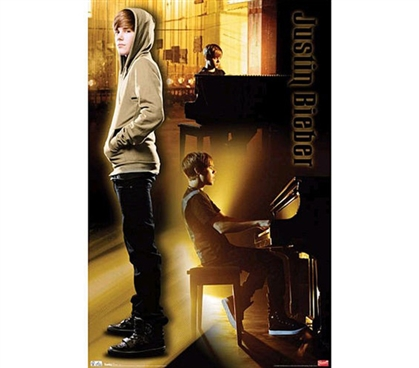 Pop Culture Icon - Justin Bieber Piano Music Poster