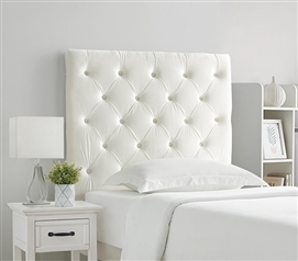 Tufted Velvet Plush College Dorm Headboard - White