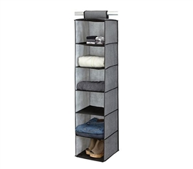 College Closet Essential - 6-Shelf Sweater Organizer - Gray With Black Trim - Great Organizer for College
