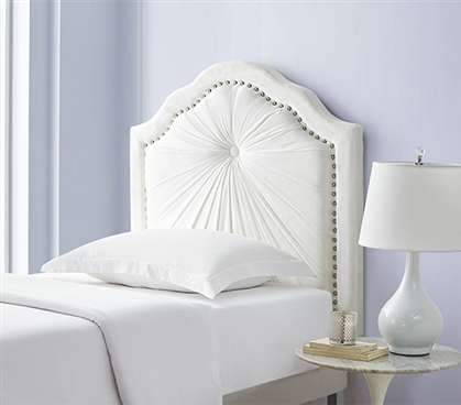 Plush Pleated Double Bevel College Dorm Headboard - White