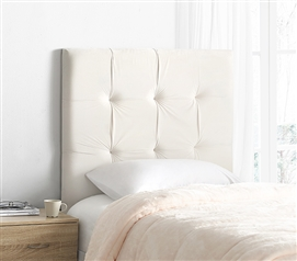 High Quality Dorm Bedding Headboard with Sleek Style Mo' Classic Plush Velvet White XL Twin Headboard