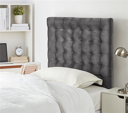 Easy to Match Gray Dorm Room Decor Mo' Tufted Velvet Gray Plush Twin XL Headboard for Dorm Bed
