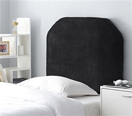 Black College Headboard Mo' Bunny Love Made with Faux Fur Cozy Plush Material