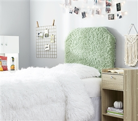 Stylish College Headboard Made with Plush Faux Feathers Mo' Fluffy Feathers Green Dorm Decor for Twin XL Bed