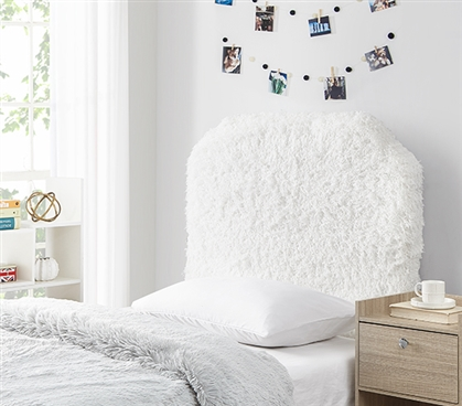 Easy to Match Dorm Decor Ideas Stylish Mo' Fluffy Feathers Plush Texture White College Headboard for Twin XL Dorm Bed