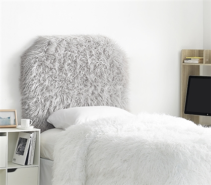 Stylish Dorm Room Headboard Made with Glacier Gray Mo' Unruly Plush Twin XL Bedding Accessory