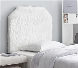Mo' Heaven College Headboard - Plush Furry Fur White