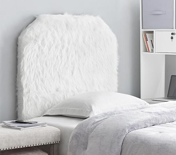 Mo Heaven College Headboard Plush Furry Fur White