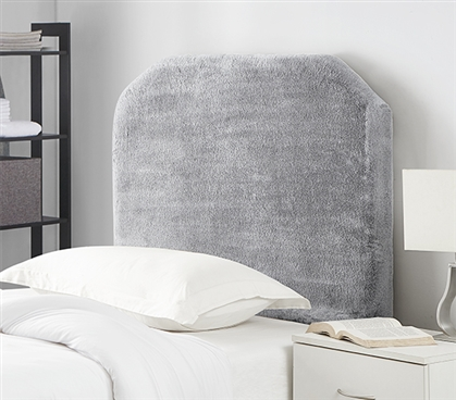 Ultra Cozy College Headboard for Dorm Room Bed Mo' Fur Frosted Gray Plush College Bedding Essentials