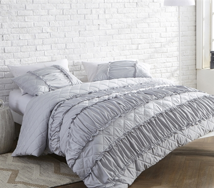 Gray College Duvet Cover Stylish Ruffle Pleats Glacier Gray Extra Long Twin Dorm Room Bedding