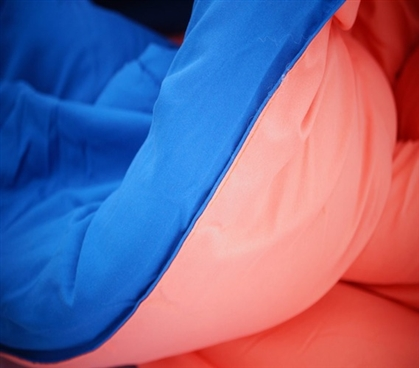 Fusion Coral/Pacific Blue Reversible College Comforter - Twin XL Dorm Bedding