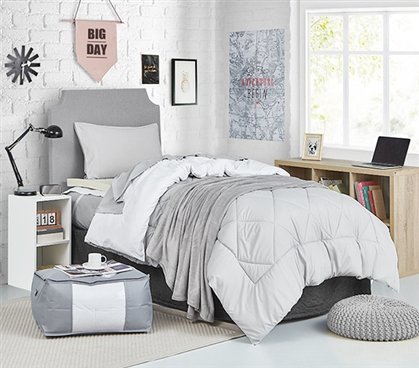 Extra Long Twin Reversible Glacier Gray/White Comforter for College
