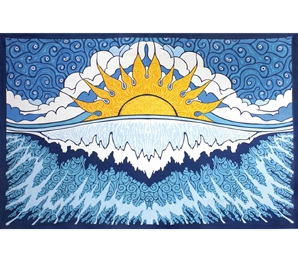 Cover Those Blank Walls - Sun Wave Indian Tapestry - Cool Dorm Decor
