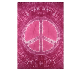 Pink Peace Sign Tie Dye Tapestry Dorm bed accessory