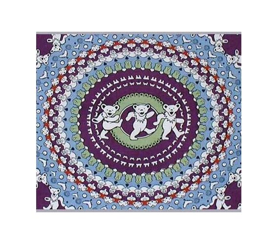 Dancing Bear Tapestry Light Blue / Purple Dorm Bed Covers Part 52