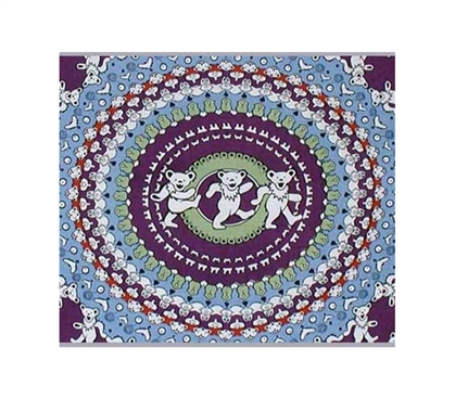 Dancing Bear Tapestry Light Blue / Purple Dorm bed covers