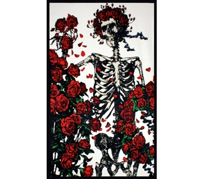 Enhance Dorm Decor - Skeleton Roses Tapestry - Cool Band Tapestry