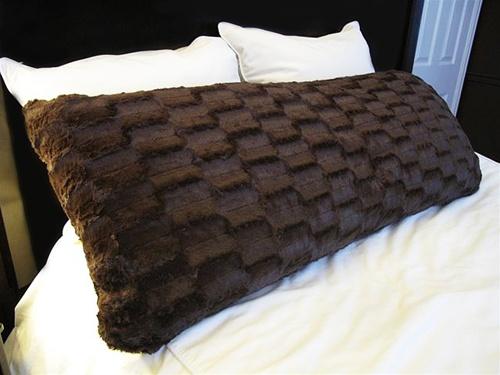 College Plush Body Pillow Espresso Brown Dorm Room Bedding