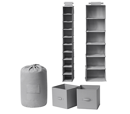Durable College Storage Solutions TUSK 5-Piece Alloy Gray Dorm Room Organization Essentials