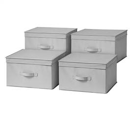 Large College Storage Boxes 4-Pack Durable TUSK® Jumbo Dorm Storage in Alloy Gray