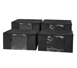 TUSK® Jumbo Storage with Clear View 4-Pack - Black - Dorm Items Dorm Storage Solutions