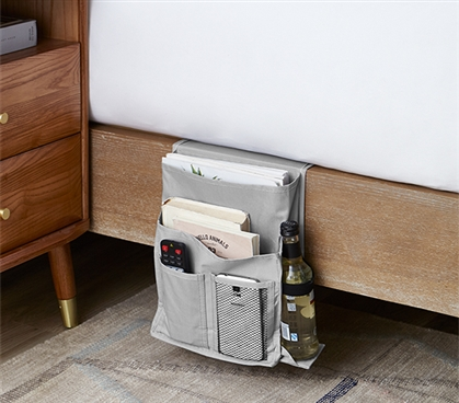 Durable TUSK Dorm Storage Solutions Neutral Alloy Gray College Bedside Caddy for Extra Long Twin Bed