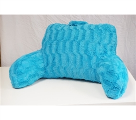 Soft Dorm Seating Wavy Plush Bedrest - Aqua Blue College Supplies